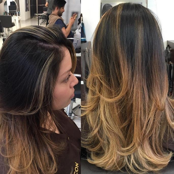 Фото: стрижка лесенка на длинные волосы, вид сзади